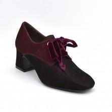 3423-91 - Zapato de tacon y cordones burdeos