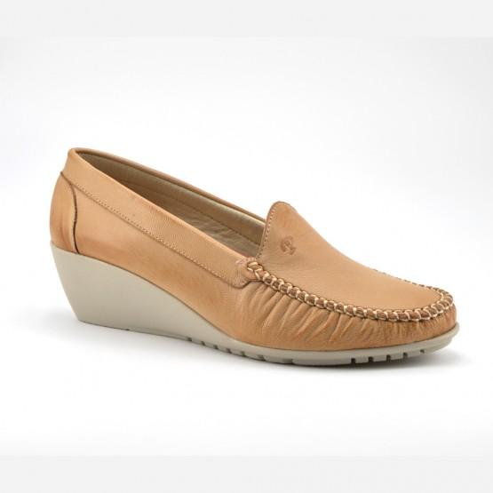 Zapato Cuña Mujer Piel Camel
