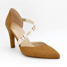 Zapatos Tacón Piel Camel