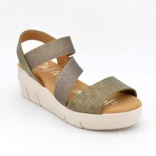 Sandalia Plataforma Piel Kaki
