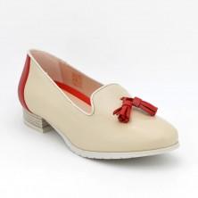 Zapato Plano Piel Beig
