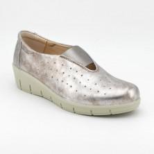 Zapato Cuña Piel Beig metalizado