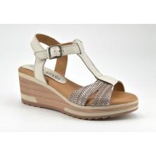 Sandalia Plataforma Mujer Piel Hielo