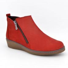 1306 - Botín plano nobuck rojo