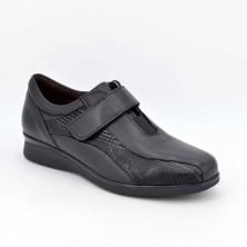 6303 - Pitillos Zapato velcro Piel y lycra Negro