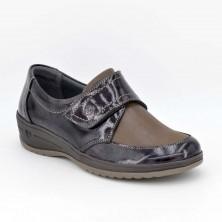 3604 - Suave Zapato velcros Piel Marrón