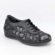 3608 - Suave Zapato cuña Piel Negro