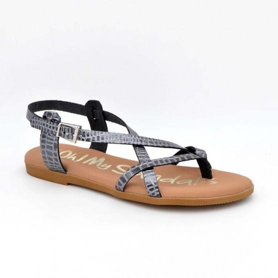 4802 - Oh Sandals Sandalia plana Piel Plomo