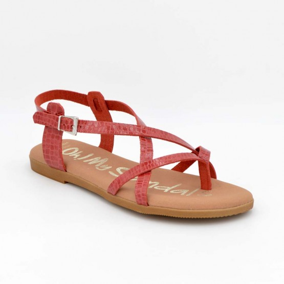4802 - Oh Sandals Sandalia plana Piel Rojo