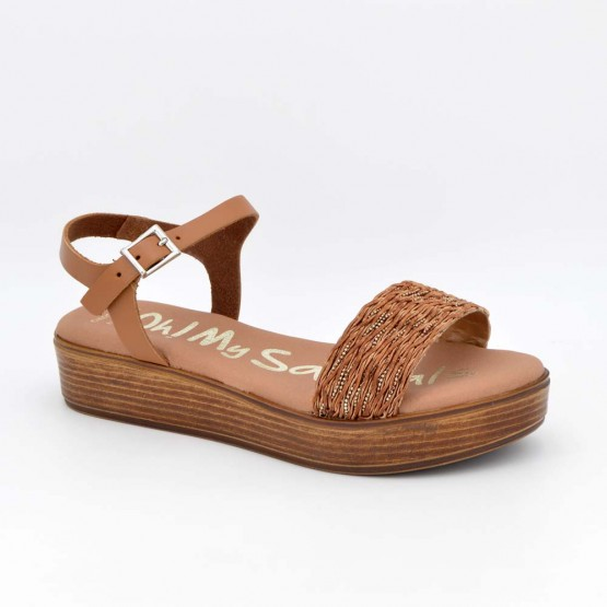 4855 - Oh Sandals Sandalia cuña Piel Camel