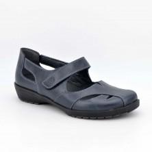 3417 - Suave Zapato plantillas Piel Marino