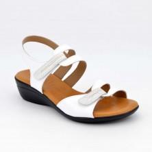 454 - Sandalia velcro Piel Blanco