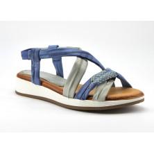 Sandalias Cuña Mujer Piel Azul