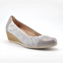 Zapato Cuña Mujer Piel Gris