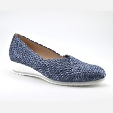 Zapato Cuña Mujer Piel Marino